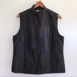 Talbots Quilted Vest Floral Full Zip Up Black M